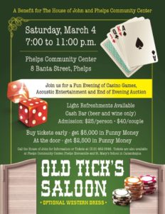 Old Tick's Saloon Fundraiser @ Phelps Community Center | Phelps | New York | United States